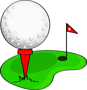 Clip Art Illustration of a Cartoon Golf Ball on a Golf Course